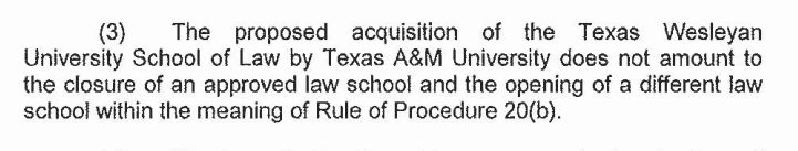 Snipped from the August 12, 2013 letter from the ABA to TAMU and TWU, approving the sale of TWU School of Law to A&M.