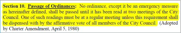 Section 10 - Passage of Ordinances