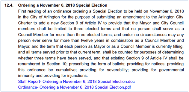 Ordering a Nov. 6 2018 Special Election